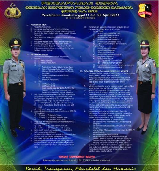 Syarat Pendaftaran Sekolah Inspektur Polisi Sumber Sarjana (SIPSS) 2011